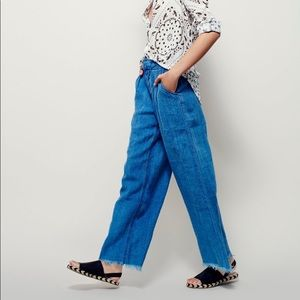 Free People Relaxed Linen Pant In Indigo